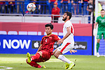 Bui Tien Dung of Vietnam (L) fights for the ball with Mousa Mohammad Suleiman of Jordan (R) during the AFC Asian Cup UAE 2019 Round of 16 match between Jordan (JOR) and Vietnam (VIE) at Al Maktoum Stadium on 20 January 2019 in Dubai, United Arab Emirates. Photo by Marcio Rodrigo Machado / Power Sport Images