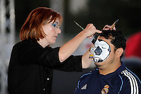 A fan gets his face painted prior to the game. The men's national teams of the United States (USA) and Colombia (COL) played to a 0-0 tie during an international friendly at PPL Park in Chester, PA, on October 12, 2010.
