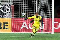 FOXBOROUGH, MA - NOVEMBER 20: Clement Diop #23 of Montreal Impact takes a goal kick during the Audi 2020 MLS Cup Playoffs, Eastern Conference Play-In Round game between Montreal Impact and New England Revolution at Gillette Stadium on November 20, 2020 in Foxborough, Massachusetts.