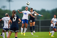 Boston Breakers forward Lianne Sanderson (10) goes up for a header with Sky Blue FC midfielder Brittany Bock (10). Sky Blue FC and the Boston Breakers played to a 0-0 tie during a National Women's Soccer League (NWSL) match at Yurcak Field in Piscataway, NJ, on July 13, 2013.