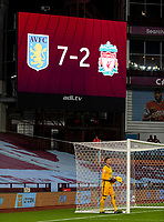 4th October 2020, Villa Park, Birmingham, England;  Liverpools goalkeeper Adrian looks dejected at the final whistle as the ginat display shows the score after the English Premier League match between Aston Villa and Liverpool at Villa Park