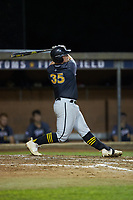 Brady Garrison (35) (Marshall University) of the Wilson Tobs follows through on his swing against the High Point-Thomasville HiToms at Finch Field on July 17, 2020 in Thomasville, NC. The Tobs defeated the HiToms 2-1. (Brian Westerholt/Four Seam Images)