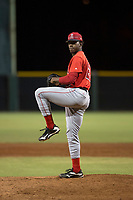 AZL Angels relief pitcher Darrien Williams (28) delivers a pitch during an Arizona League game against the AZL Giants Black at the San Francisco Giants Training Complex on July 1, 2018 in Scottsdale, Arizona. The AZL Giants Black defeated the AZL Angels by a score of 4-2. (Zachary Lucy/Four Seam Images)