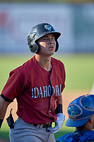 Kember Nacero (1) of the Idaho Falls Chukars at bat against the Ogden Raptors at Lindquist Field on August 9, 2019 in Ogden, Utah. The Raptors defeated the Chukars 8-3. (Stephen Smith/Four Seam Images)