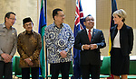 21 March 2016, Jakarta, Indonesia:  Australia's Foreign Minister Julie Bishop (far right) leading the official proceedings with Dr. Pratikno, Iman Gusman and former President BJ Habibi at the opening of the new Australian Embassy in Jakarta. The function included traditional welcomes, dancing and speeches from Australian and Indonesian guests. Picture by  Graham Crouch/DFAT
