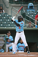 D'Shawn Knowles (8) of the Inland Empire 66ers bats against the Fresno Grizzlies at San Manuel Stadium on May 25, 2021 in San Bernardino, California. (Larry Goren/Four Seam Images)