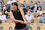 Alexander Zverev (GER) plays against Alejandro Davidovich Fokina (ESP) during the quater final of french open tennis tournament at Roland Garros in Paris, France.
