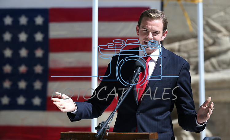 Landon Miller emcees the 19th Annual Flag Day Ceremony & U.S. Army Birthday ceremony at the Nevada Veterans Memorial in Carson City, Nev. on Wednesday, June 14, 2017. <br />