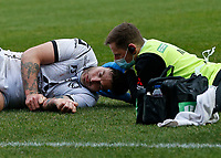 20th March 2021; Twickenham Stoop, London, England; English Premiership Rugby, Harlequins versus Gloucester; Harlequins, Gloucester; Head injury to Henry Trinder of Gloucester in a huge defensive tackle