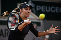 28th September 2020, Roland Garros, Paris, France; French Open tennis, Roland Garros 2020;  Oceane DODIN FRA plays a forehand during her match against Petra KVITOVA CZE
