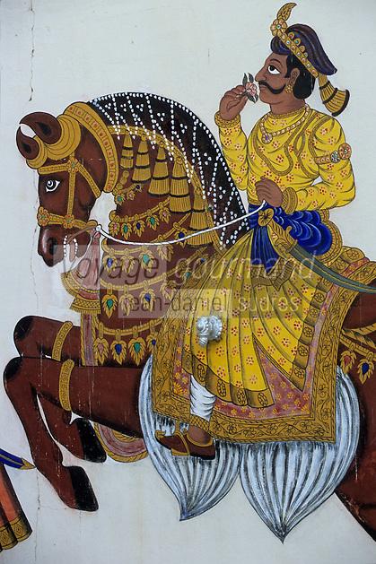 Asie/Inde/Rajasthan/Udaipur : City Palace - Palais du roi d'Udaipur - Détail peinture de mariage - Cheval symbole de puissance