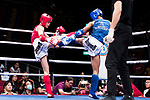 Liu Hin Chung (Red) of Hong Kong fights against Xiao Feng (Blue) of China in the male muay 54KG division weight bout during the East Asian Muaythai Championships 2017 at the Queen Elizabeth Stadium on 13 August 2017, in Hong Kong, China. Photo by Yu Chun Christopher Wong / Power Sport Images