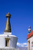 Golden tower on the Shey Monastery, Ladakh, India.