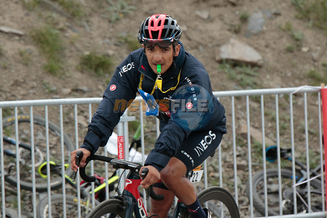 Richard Carapaz (Ecu) Ineos Grenadiers on the way back down Col du Portet after finishing 3rd on Stage 17 of the 2021 Tour de France, running 178.4km from Muret to Saint-Lary-Soulan Col du Portet, France. 14th July 2021.  <br /> Picture: Colin Flockton | Cyclefile<br /> <br /> All photos usage must carry mandatory copyright credit (© Cyclefile | Colin Flockton)