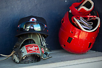 Springfield Cardinals gear sits in the dugout on May 19, 2019, at Arvest Ballpark in Springdale, Arkansas. (Jason Ivester/Four Seam Images)