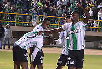 TUNJA-COLOMBIA, 11-02-2020: Jugadores de Atlético Nacional, celebran el segundo gol anotado a Boyacá Chicó F. C., durante partido entre Patriotas FC y Atlético Nacional, de la fecha 4 por la Liga BetPlay DIMAYOR I 2020 en el estadio La Independencia en la ciudad de Tunja. / Players of Atlético Nacional, celebrates the second scored goal to Boyacá Chicó F. C., during a match between Boyaca Chico F. C. and Atlético Nacional, of the 4th date for the BetPlay DIMAYOR Leguaje I 2020 at La Independencia stadium in Tunja city. / Photo: VizzorImage / José Miguel Palencia / Cont.