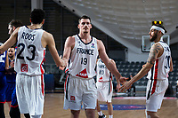 22nd February 2021, Podgorica, Montenegro; Eurobasket International Basketball qualification for the 2022 European Championships, England versus France;  Alexandre Chassang of France,Maxime Roos of France, Isaia Cordinier of France