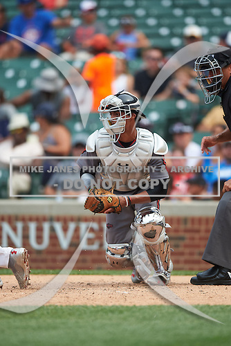 MJ Melendez (7) of St. James High School in Montgomery, Alabama during the Under Armour All-American Game presented by Baseball Factory on July 23, 2016 at Wrigley Field in Chicago, Illinois.  (Mike Janes/Four Seam Images)