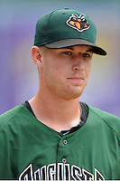 Augusta GreenJackets starting pitcher Chris Stratton #22 before a game against the Asheville Tourists at McCormick Field on June 30, 2013 in Asheville, North Carolina. The GreenJackets won the game 9-7. (Tony Farlow/Four Seam Images)