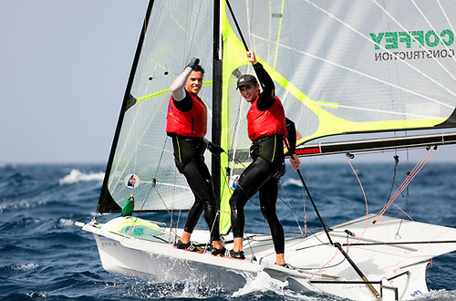 The magic moment at Vilamoura on March 26th – Sean Waddilove (left) and Robert Dickson have just secured a 49er place for Ireland at the Tokyo Olympics in July