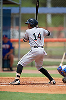 GCL Marlins second baseman Walner Espinal (14) at bat during a game against the GCL Mets on August 3, 2018 at St. Lucie Sports Complex in Port St. Lucie, Florida.  GCL Mets defeated GCL Marlins 3-2.  (Mike Janes/Four Seam Images)