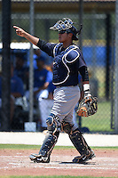 GCL Yankees 2 catcher Rainiero Coa (76) during a game against the GCL Blue Jays on July 2, 2014 at the Bobby Mattick Complex in Dunedin, Florida.  GCL Yankees 2 defeated GCL Blue Jays 9-6.  (Mike Janes/Four Seam Images)