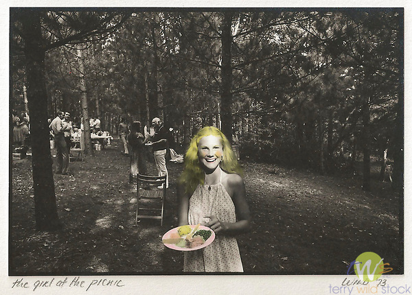Scan from vintage print. Girl at Adelson picnic. 1973. 1 of 1; Black and White with color hand tinting.