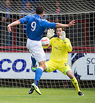 Aberdeen v St Johnstone...28.06.15  Glebe Park, Brechin..Pre-Season Friendly<br /> Scott Brown saves John Sutton's shot<br /> Picture by Graeme Hart.<br /> Copyright Perthshire Picture Agency<br /> Tel: 01738 623350  Mobile: 07990 594431