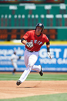 Erie Seawolves catcher Grayson Greiner (51) running the bases after hitting a triple during a game against the Altoona Curve on July 10, 2016 at Jerry Uht Park in Erie, Pennsylvania.  Altoona defeated Erie 7-3.  (Mike Janes/Four Seam Images)