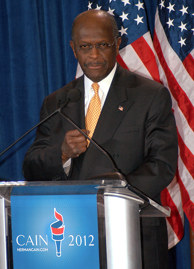 """AJ Alexander - 11-08-11, Herman Cain, GOP Candidate Defends Himself in a Press Confrence to dispute a sexual harassment allegations made by Sharon Bialek. He also accused the """"Democratic Machine"""" of manufacturing the controversy, at the Scottsdale Plaza Resort, in Scottsdale Arizona, on Tuesday afternoon, November 08, 2011..Photo by AJ Alexander"""