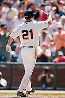13 April 2008: #21 John Bowker of the Giants celebrates as he hits an homerun becoming the first San Francisco player to homer in his first two games during the San Francisco Giants 7-4 victory over the St. Louis Cardinals at the AT&T Park in San Francisco, CA.