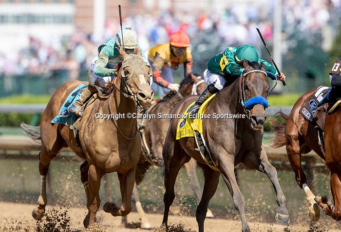 May 1, 2021 : Flagstaff, #4, ridden by jockey Luis Saez, wins the Churchill Downs on Kentucky Derby Day at Churchill Downs on May 1, 2021 in Louisville, Kentucky. Carolyn Simancik/Eclipse Sportswire/CSM