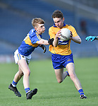 Christy Mc Donagh of Tipperary in action against Emmet Mc Mahon of Clare during their Munster Minor football semi-final at Thurles. Photograph by John Kelly.
