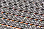 Aerial view of the large Baldock solar array in Aurora, Oregon.