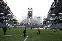 SEATTLE, WA - NOVEMBER 9: Sounders FC player play on the field at CenturyLink Field on November 9, 2019 in Seattle, Washington.