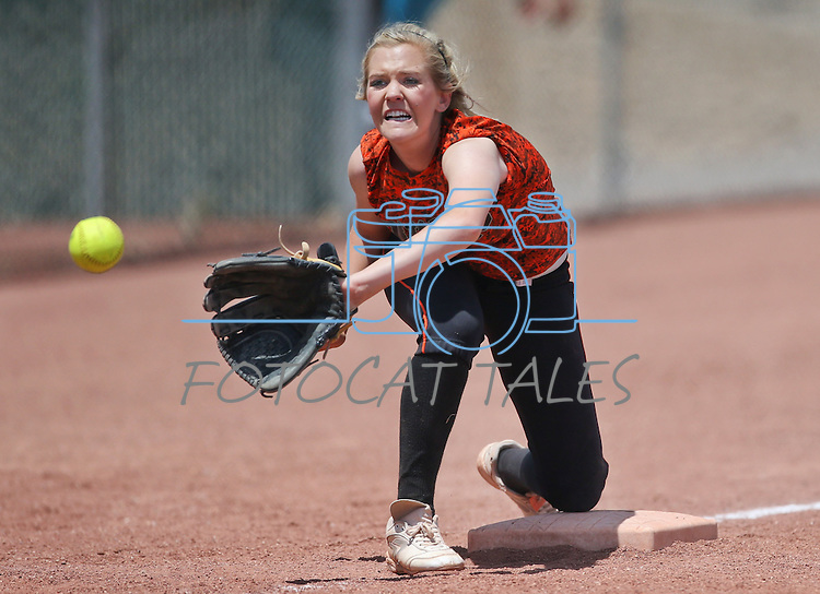 Douglas Tigers' Morgan Gunnell makes a play against the Galena Grizzlies in a first round game of the NIAA northern region softball tournament in Reno, Nev., on Thursday, May 15, 2014.  <br /> Photo by Cathleen Allison