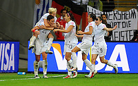Players of team USA celebrate during the FIFA Women's World Cup Final USA against Japan at the FIFA Stadium in Frankfurt, Germany on July 17th, 2011.