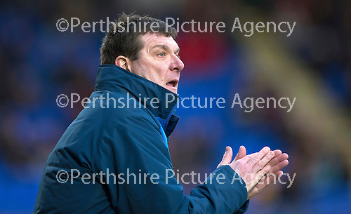 St Johnstone v Motherwell…20.02.16   SPFL   McDiarmid Park, Perth<br />Tommy Wright applauds his players<br />Picture by Graeme Hart.<br />Copyright Perthshire Picture Agency<br />Tel: 01738 623350  Mobile: 07990 594431