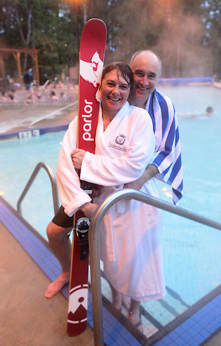 Joanna Blanchard and Scott Blanchard<br /> Revelstoke Pool, Sutton Place Hotel