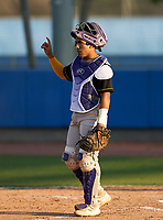 Montverde Academy Eagles catcher Salvador Alvarez (16) signals one out during a game against the IMG Academy Ascenders on April 8, 2021 at IMG Academy in Bradenton, Florida.  (Mike Janes/Four Seam Images)