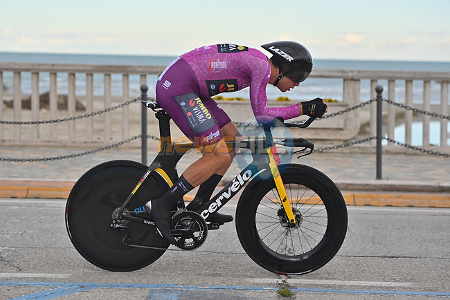 Maglia Ciclamino Belgian Champion Wout Van Aert (BEL) Team Jumbo-Visma during Stage 7 of Tirreno-Adriatico Eolo 2021, an individual time trial running 10.1km around San Benedetto del Tronto, Italy. 16th March 2021. <br /> Photo: LaPresse/Marco Alpozzi | Cyclefile<br /> <br /> All photos usage must carry mandatory copyright credit (© Cyclefile | LaPresse/Marco Alpozzi)