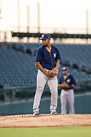 AZL Brewers starting pitcher Wilfred Salaman (16) gets ready to deliver a pitch during a game against the AZL Cubs on August 6, 2017 at Sloan Park in Mesa, Arizona. AZL Cubs defeated the AZL Brewers 8-7. (Zachary Lucy/Four Seam Images)