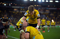 Hurricanes' Jordie Barrett congratulates Dane Coles on his try during the Super Rugby Aotearoa match between the Hurricanes and Chiefs at Sky Stadium in Wellington, New Zealand on Saturday, 8 August 2020. Photo: Dave Lintott / lintottphoto.co.nz