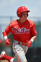 GCL Phillies designated hitter Simon Muzziotti (31) runs to first base during a game against the GCL Tigers East on July 25, 2017 at TigerTown in Lakeland, Florida.  GCL Phillies defeated the GCL Tigers East 4-1.  (Mike Janes/Four Seam Images)