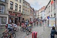race start: peloton leaving Binche<br /> <br /> Binche-Chimay-Binche 2017 (BEL) 197km<br /> 'Mémorial Frank Vandenbroucke'