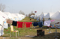 Pictured: Clothes drying at the refugee camp Tuesday 23 February 2016<br /> Re: Migrants trying to cross the Greek-FYRO Macedonian border, were turned away by the authorities in Idomeni, Greece.
