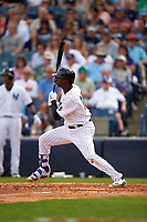 New York Yankees shortstop Didi Gregorius (18) at bat during a Spring Training game against the Detroit Tigers on March 2, 2016 at George M. Steinbrenner Field in Tampa, Florida.  New York defeated Detroit 10-9.  (Mike Janes/Four Seam Images)