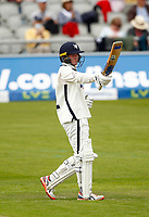 27th May 2021; Emirates Old Trafford, Manchester, Lancashire, England; County Championship Cricket, Lancashire versus Yorkshire, Day 1; Harry Dukeof Yorkshire acknowledges the crowd's applause as he reaches his half century