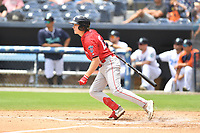 Greenville Drive Tyler Esplin (25) swings at a pitch during a game against the Asheville Tourists on July 18, 2021 at McCormick Field in Asheville, NC. (Tony Farlow/Four Seam Images)