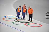 OLYMPIC GAMES: PYEONGCHANG: 17-02-2018, Gangneung Oval, Long Track, Training session, Sven Kramer (NED), Koen Verweij (NED), Patrick Roest (NED), Arie Koops, ©photo Martin de Jong